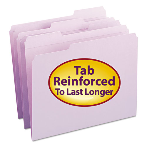 Reinforced Top Tab Colored File Folders, 1/3-Cut Tabs, Letter Size, Lavender, 100/Box. Picture 1