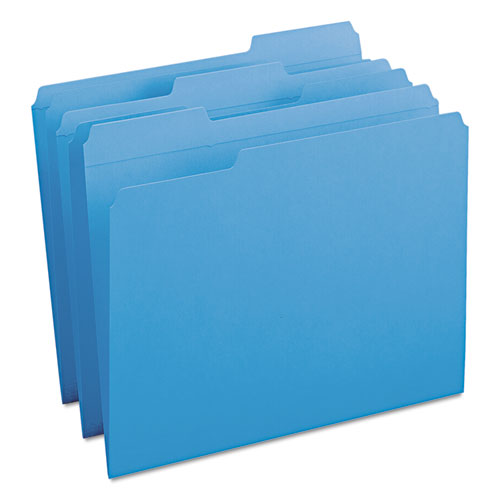 Reinforced Top Tab Colored File Folders, 1/3-Cut Tabs, Letter Size, Blue, 100/Box. Picture 8