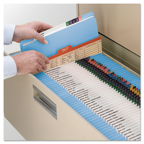 Reinforced Top Tab Colored File Folders, Straight Tab, Letter Size, Blue, 100/Box. Picture 9