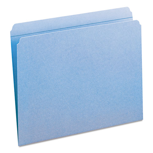 Reinforced Top Tab Colored File Folders, Straight Tab, Letter Size, Blue, 100/Box. Picture 10