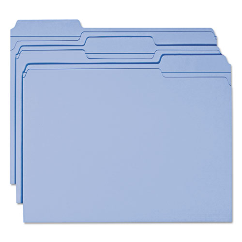 Reinforced Top Tab Colored File Folders, 1/3-Cut Tabs, Letter Size, Blue, 100/Box. Picture 9