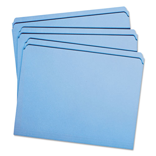 Reinforced Top Tab Colored File Folders, Straight Tab, Letter Size, Blue, 100/Box. Picture 12