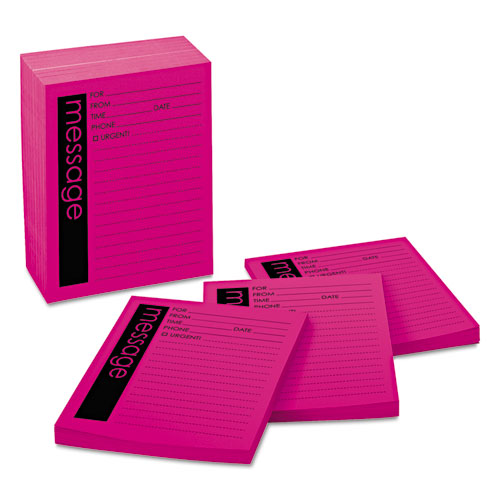 Self-Stick Message Pad, 4 x 5, Pink, 50-Sheet, 12/Pack. Picture 1