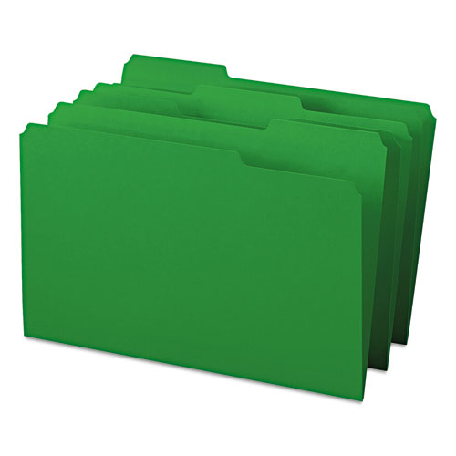Colored File Folders, 1/3-Cut Tabs, Legal Size, Green, 100/Box. Picture 5