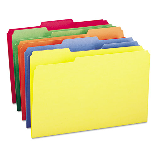 Colored File Folders, 1/3-Cut Tabs, Legal Size, Yellow, 100/Box. Picture 2