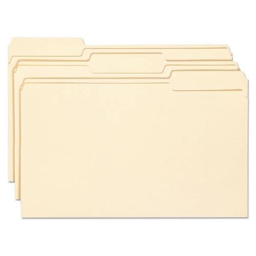 Top Tab File Folders with Antimicrobial Product Protection, 1/3-Cut Tabs, Legal Size, Manila, 100/Box. Picture 1