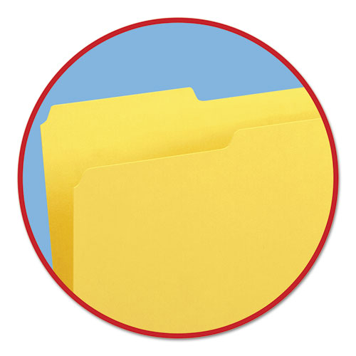 Colored File Folders, 1/3-Cut Tabs, Legal Size, Yellow, 100/Box. Picture 3