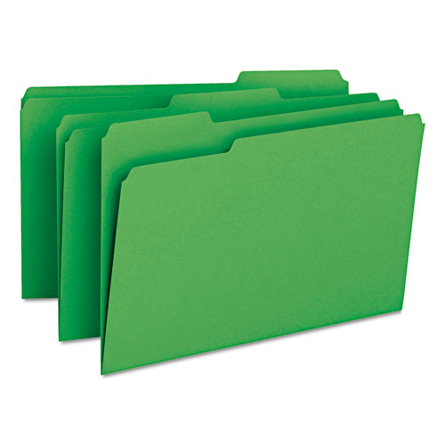 Colored File Folders, 1/3-Cut Tabs, Legal Size, Green, 100/Box. Picture 2
