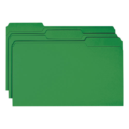Colored File Folders, 1/3-Cut Tabs, Legal Size, Green, 100/Box. Picture 3