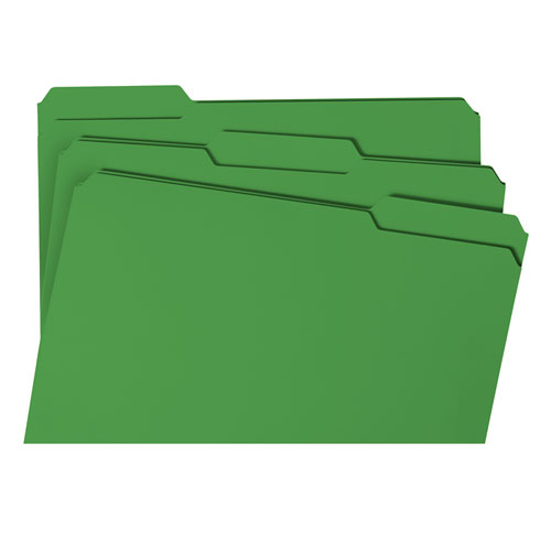 Colored File Folders, 1/3-Cut Tabs, Legal Size, Green, 100/Box. Picture 6