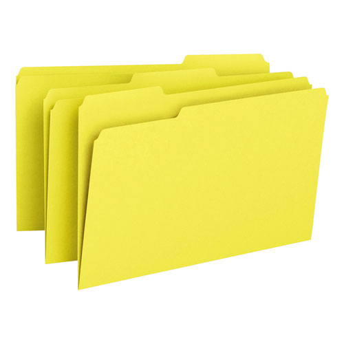 Colored File Folders, 1/3-Cut Tabs, Legal Size, Yellow, 100/Box. Picture 5