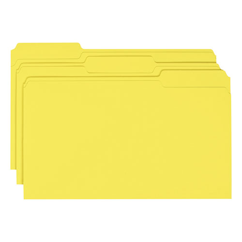 Colored File Folders, 1/3-Cut Tabs, Legal Size, Yellow, 100/Box. Picture 6