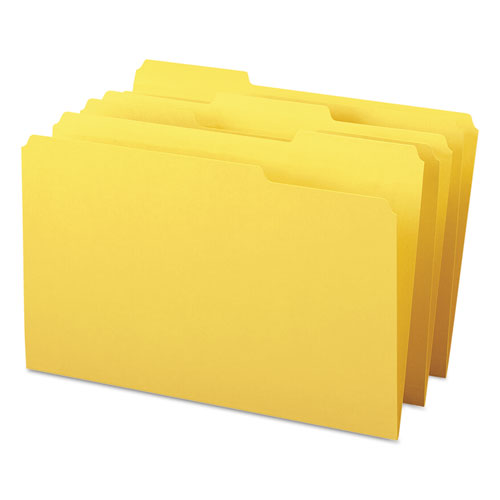 Colored File Folders, 1/3-Cut Tabs, Legal Size, Yellow, 100/Box. Picture 7
