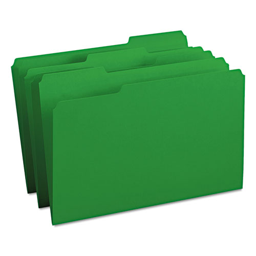 Colored File Folders, 1/3-Cut Tabs, Legal Size, Green, 100/Box. Picture 1