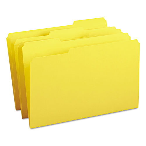 Colored File Folders, 1/3-Cut Tabs, Legal Size, Yellow, 100/Box. Picture 1