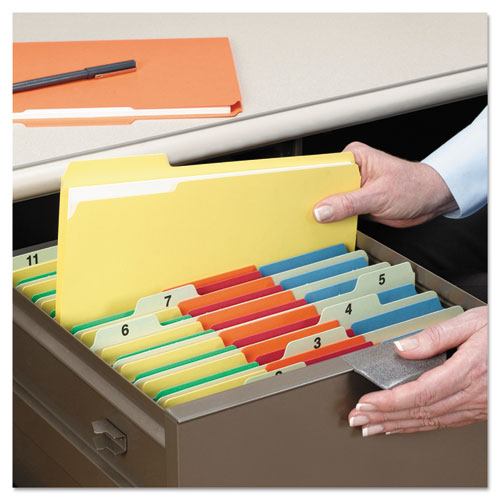 Colored File Folders, 1/3-Cut Tabs, Legal Size, Yellow, 100/Box. Picture 9