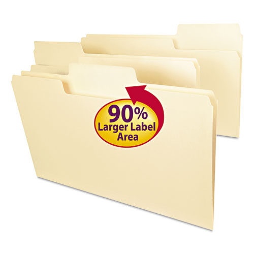 SuperTab Top Tab File Folders, 1/3-Cut Tabs, Legal Size, 11 pt. Manila, 100/Box. Picture 1