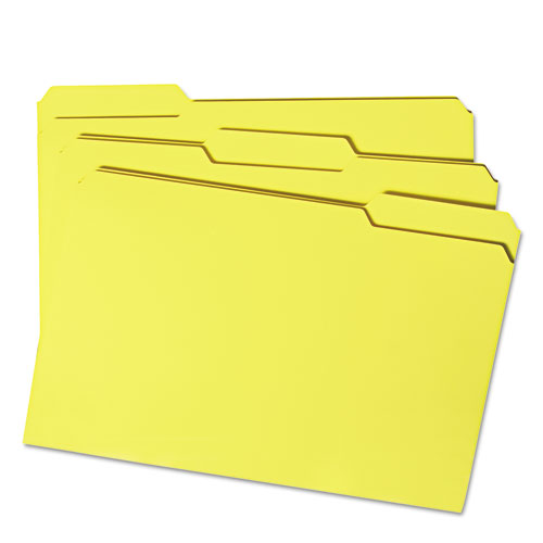 Colored File Folders, 1/3-Cut Tabs, Legal Size, Yellow, 100/Box. Picture 10