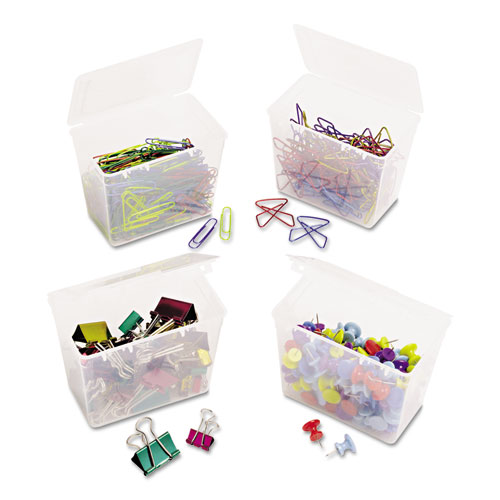 350 Paper Clips, 150 Push Pins, 80 Butterfly Clips and 45 Binder Clips, Assorted. Picture 2