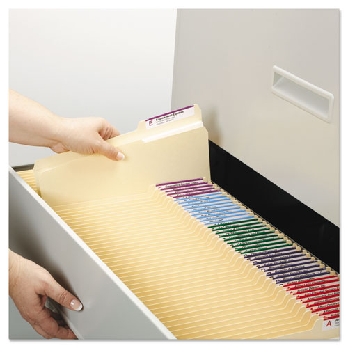 Reinforced Guide Height File Folders, 2/5-Cut Tabs, Right of Center, Letter Size, Manila, 100/Box. Picture 6