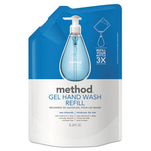 Gel Hand Wash Refill, Sea Minerals, 34 oz Pouch, 6/Carton. Picture 1