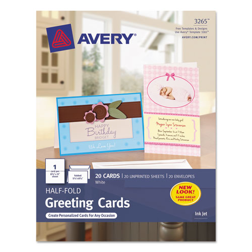 Half-Fold Greeting Cards, Inkjet, 5 1/2 x 8.5, Matte White, 20/Box w/Envelopes. The main picture.