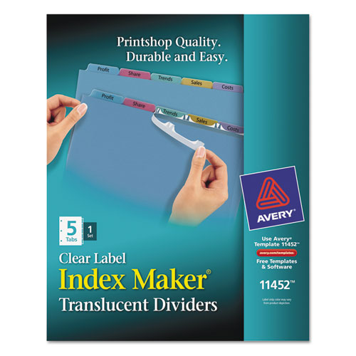 Index Maker Print Apply Clear Label Plastic Dividers 5 Tab Letter
