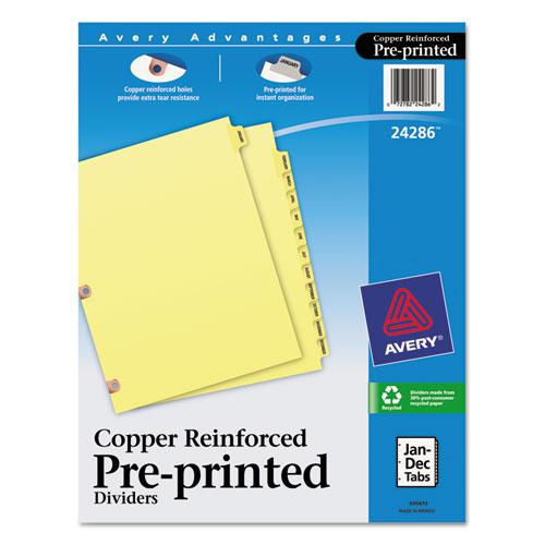 Preprinted Laminated Tab Dividers w/Copper Reinforced Holes, 12-Tab, Letter. Picture 1