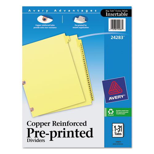 Preprinted Laminated Tab Dividers w/Copper Reinforced Holes, 31-Tab, Letter. Picture 1
