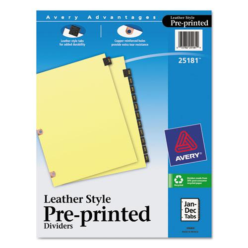 Preprinted Black Leather Tab Dividers w/Copper Reinforced Holes, 12-Tab, Letter. Picture 1