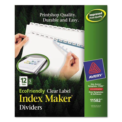 Index Maker EcoFriendly Print and Apply Clear Label Dividers with White Tabs, 12-Tab, 11 x 8.5, White, 5 Sets. Picture 1