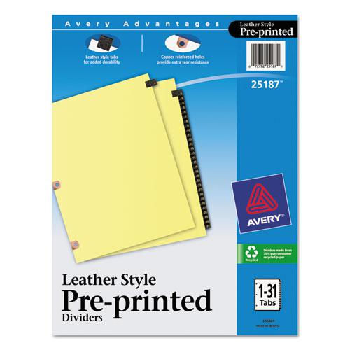 Preprinted Black Leather Tab Dividers w/Copper Reinforced Holes, 31-Tab, Letter. Picture 1