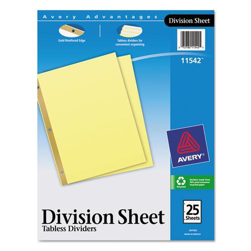 Untabbed Sheet Dividers, Untabbed, Letter. Picture 1