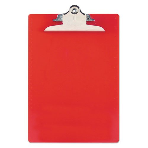 """Recycled Plastic Clipboard with Ruler Edge, 1"""" Clip Cap, 8 1/2 x 12 Sheets, Red. Picture 1"""