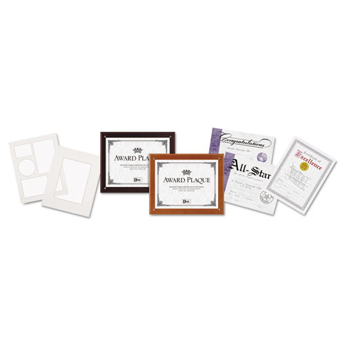 Plaque-In-An-Instant Kit with Certs and Mats, Wood/Acrylic Up to 8 1/2 x 11, Mahogany. Picture 1