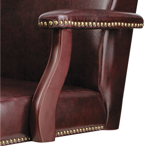 Alera Traditional Series Mid-Back Chair, Supports up to 275 lbs, Oxblood Burgundy Seat/Oxblood Burgundy Back, Mahogany Base. Picture 2