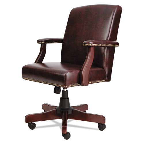 Alera Traditional Series Mid-Back Chair, Supports up to 275 lbs, Oxblood Burgundy Seat/Oxblood Burgundy Back, Mahogany Base. Picture 3