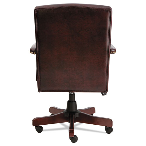 Alera Traditional Series Mid-Back Chair, Supports up to 275 lbs, Oxblood Burgundy Seat/Oxblood Burgundy Back, Mahogany Base. Picture 4
