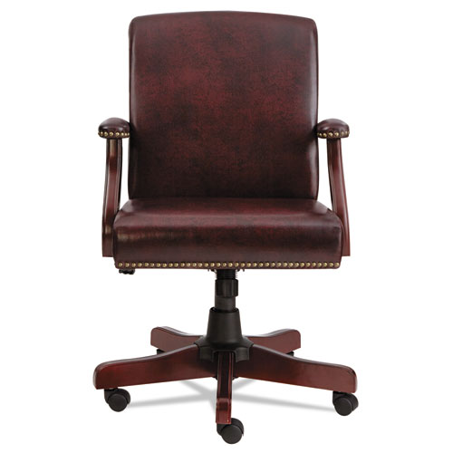 Alera Traditional Series Mid-Back Chair, Supports up to 275 lbs, Oxblood Burgundy Seat/Oxblood Burgundy Back, Mahogany Base. Picture 5