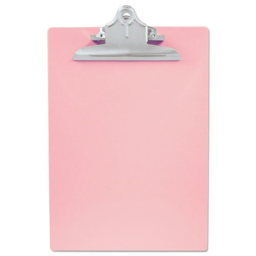 """Recycled Plastic Clipboard with Ruler Edge, 1"""" Clip Cap, 8 1/2 x 12 Sheets, Pink. Picture 1"""
