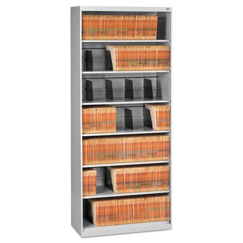 Open Fixed Seven-Shelf Lateral File, 36w x 16.5d x 87h, Light Gray. Picture 1