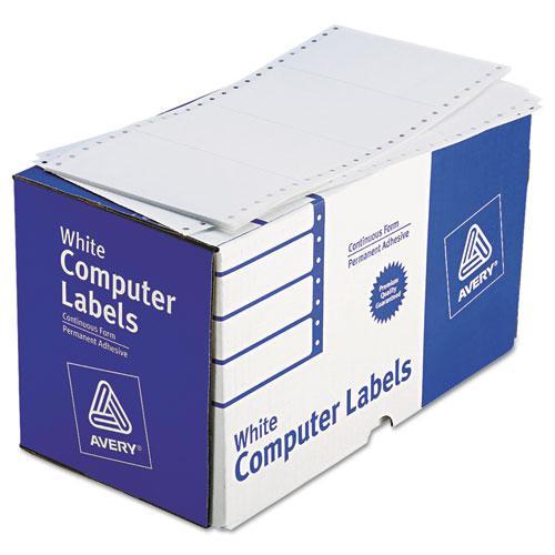 Dot Matrix Printer Mailing Labels, Pin-Fed Printers, 2.94 x 5, White, 3,000/Box. Picture 1