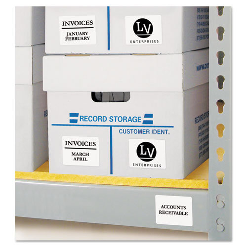 Permanent ID Labels w/ Sure Feed Technology, Inkjet/Laser Printers, 2 x 2.63, White, 15/Sheet, 15 Sheets/Pack. Picture 2