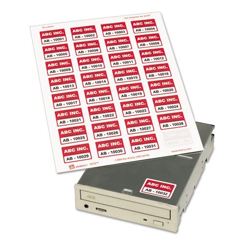Permanent ID Labels w/ Sure Feed Technology, Inkjet/Laser Printers, 1.25 x 1.75, White, 32/Sheet, 15 Sheets/Pack. Picture 2