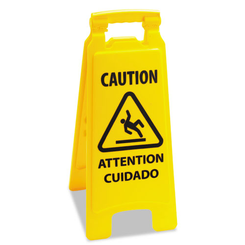 Caution Safety Sign For Wet Floors, 2-Sided, Plastic, 10 x 2 x 26, Yellow. Picture 1