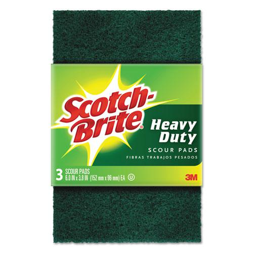"""Heavy-Duty Scour Pad, 3 4/5"""" x 6"""", Green, 3/Pack. Picture 1"""