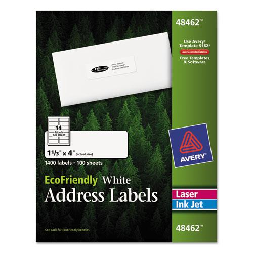 EcoFriendly Mailing Labels, Inkjet/Laser Printers, 1.33 x 4, White, 14/Sheet, 100 Sheets/Pack. Picture 1