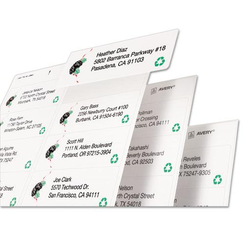 EcoFriendly Mailing Labels, Inkjet/Laser Printers, 1.33 x 4, White, 14/Sheet, 100 Sheets/Pack. Picture 3