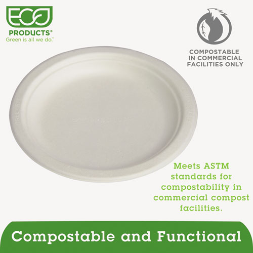 """Renewable and Compostable Sugarcane Plates Convenience Pack, 6"""", 50/Packs. Picture 2"""