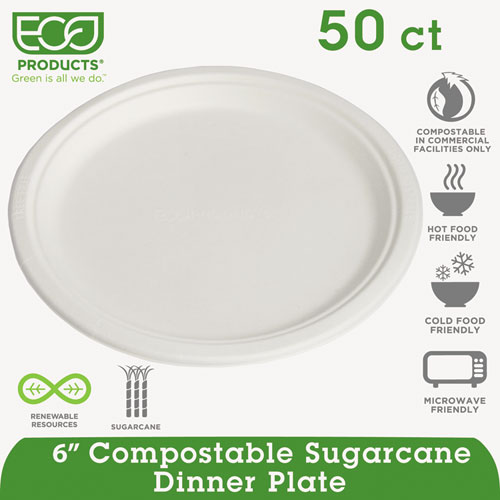 """Renewable and Compostable Sugarcane Plates Convenience Pack, 6"""", 50/Packs. Picture 3"""